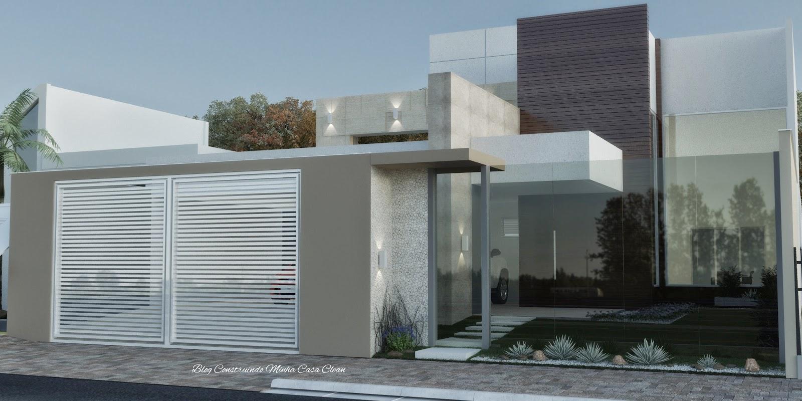 Construindo minha casa clean fachadas de casas com muros for Casa moderna 8