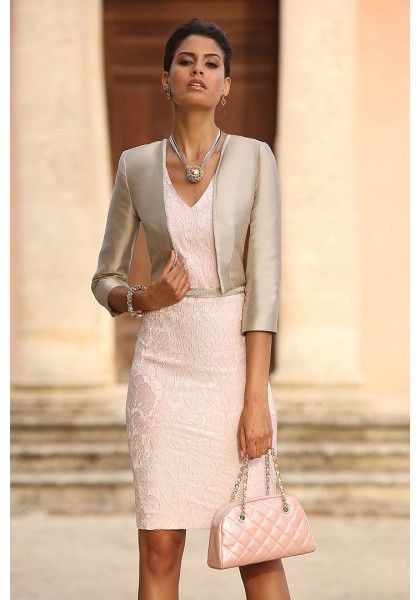 Pink Silver Lace Sheath Column Mother Of The Bride Dress With Jacket