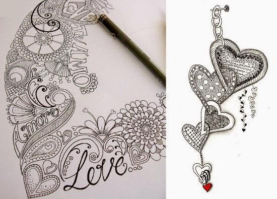 zentangles de corazon como hacerlos