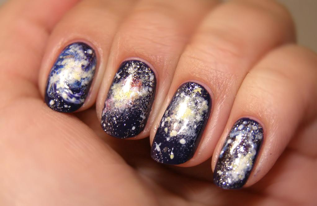 NAIL ART #2 Galaxy, planets, moon and stars Bow Of Moon