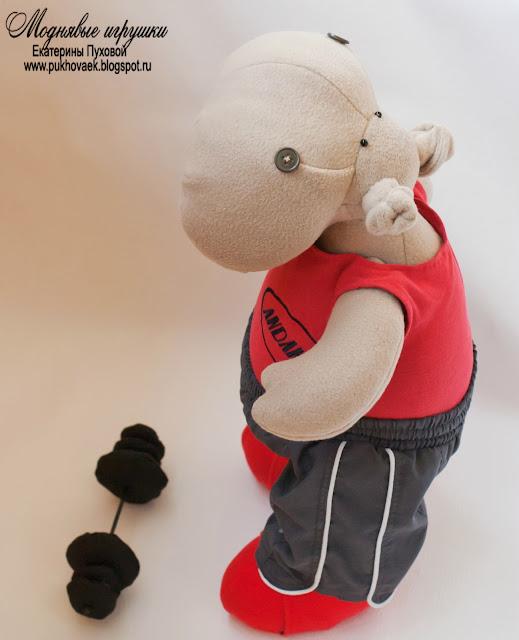 Моднявые игрушки. Текстильная игрушка бегемот силач, спортсмен, тяжелоатлетлет