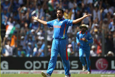 Zaheer after taking wicket of Upul Tharanga