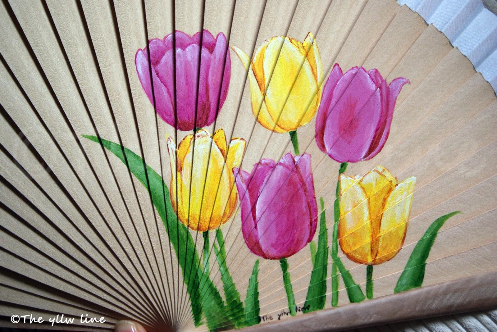 The yllw line abanicos pintados a mano y cerramos por - Como pintar abanicos ...