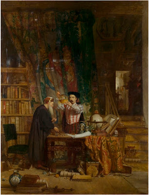 'The Alchemist' by William Fettes Douglas, 1855, Victoria & Albert Museum, no. 67-1873 http://collections.vam.ac.uk/item/O133967/the-alchemist-oil-painting-douglas-william-fettes/