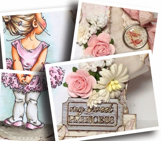 Preview of a pink Vintage card using Mo's Digital Pencil Lil Ballerina, paper flowers Maja Design papers and Prima embellishments