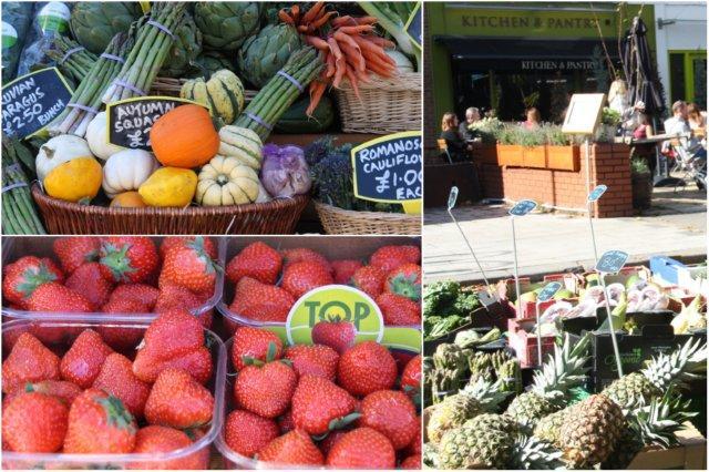 Mercadillo de frutas y verduras y terraza en Chiswick, Londres