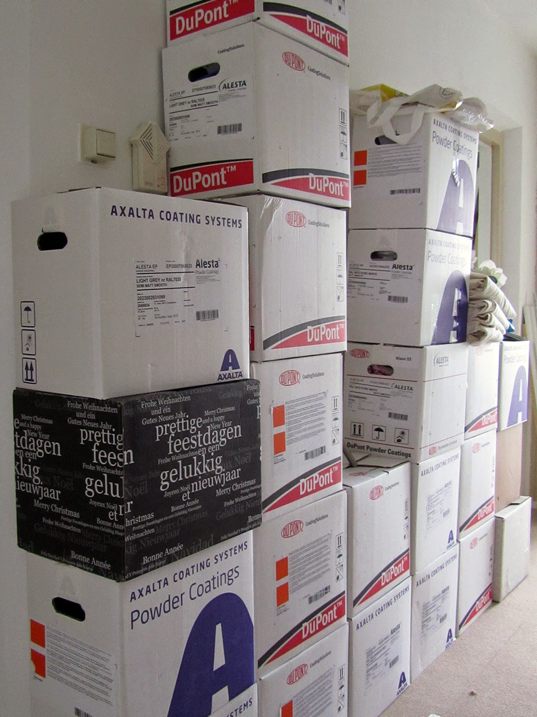 boxes in the hallway