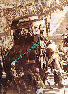 A procession of maharajas on elephants for the Delhi durbar of 1903.