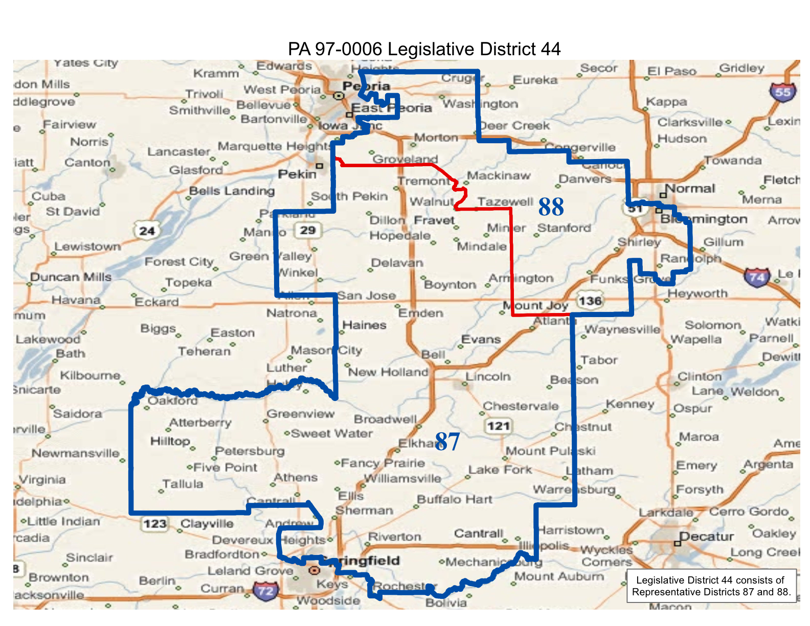 map of realigned illinois state senate district 44 and state representative districts 87 and 88