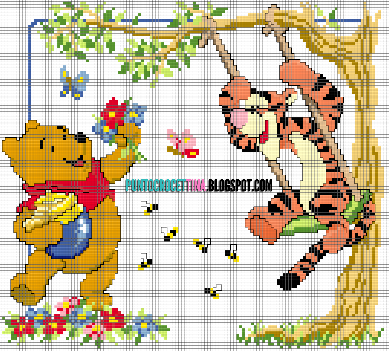 Schema punto croce winnie the pooh e tigro su altalena for Punto croce disney winnie the pooh
