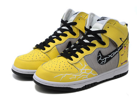Nike Dunk Yellow Pikachu High Top Sneaker For Sale Cute