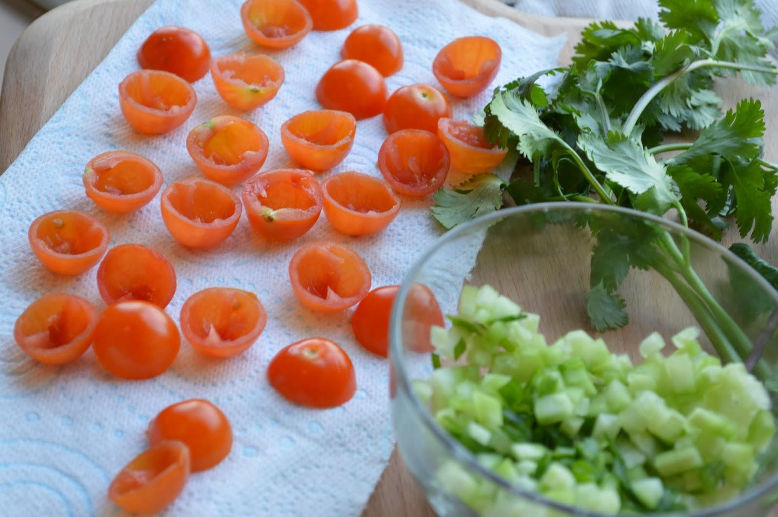 Cherry tomatoes, Coriander, Cucumber