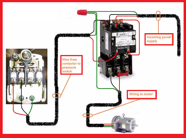 Single Phase Motor Contactor Wiring Diagram Electrical