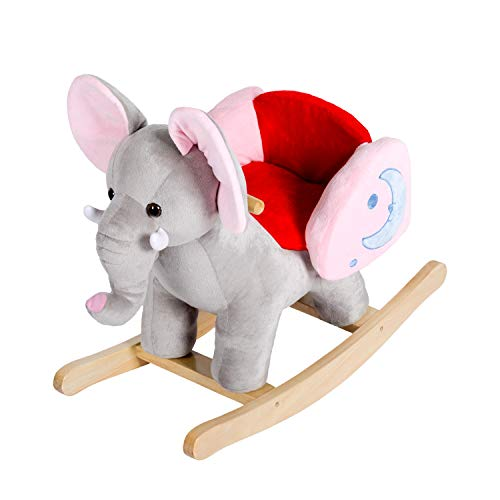 Elephant Animal Plush Rocker Horse Toy Solid Wooden Swing with Backrest Children Kids for Boy Girls 1-3 Year Cute Toddler Nursery Gift Baby Rocking Chairs