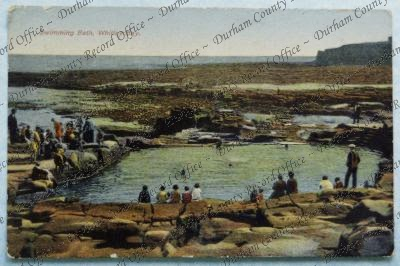 Copy photograph, from a postcard, of the rocky beach at Whitley Bay, Northumberland, looking south-east, n.d. [ c.1920] Clayport Library reference 138A; Durham Record no. DR 02299 (D/CL 27/277/370)