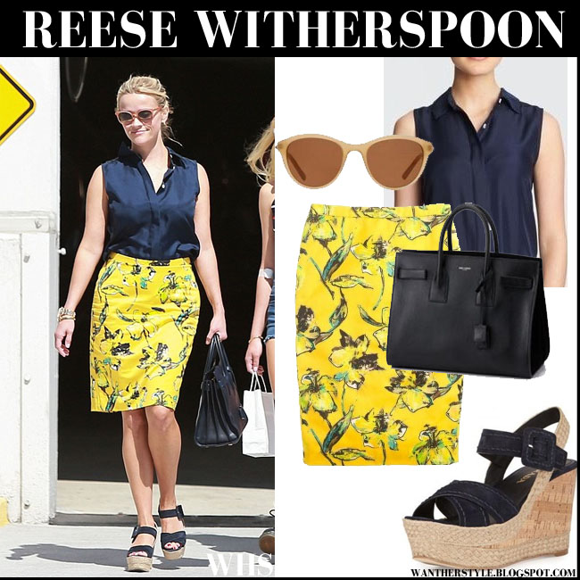 Reese Witherspoon in blue top, yellow floral skirt with wedge sandals what she wore street style august 2015
