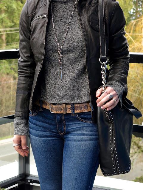 Danier motocycle jacket, Michael Kors studded bag