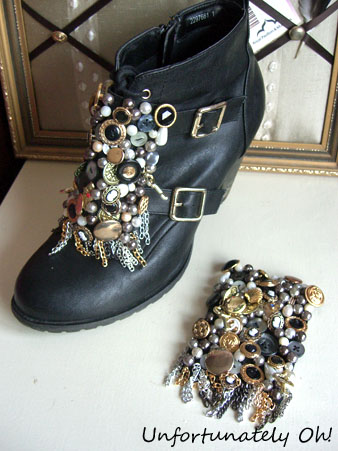 embellished fashion buckle boot DIY