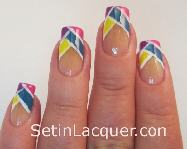 Color blocked tips nail art