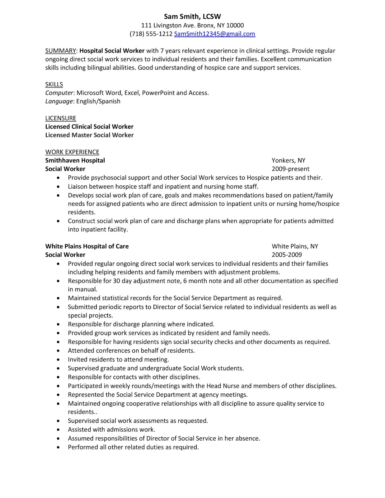 Resumes For Social Workers Sample Resume: Hospital Social Worker