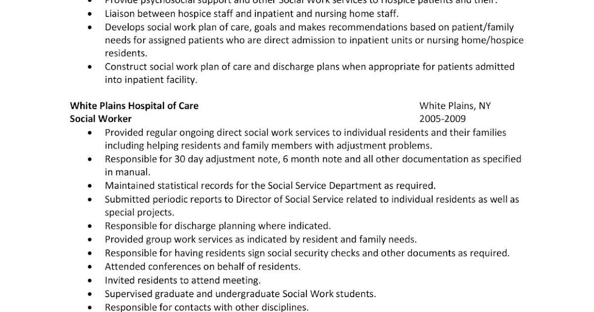 Sample Resume: Hospital Social Worker | Winning Answers To 500