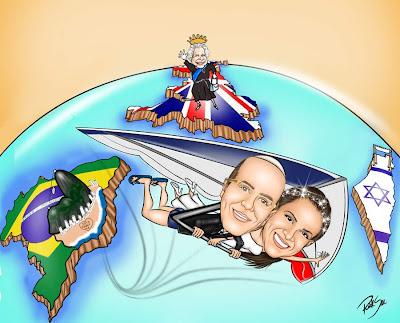 Caricatura voando de asa delta com noivo e noiva