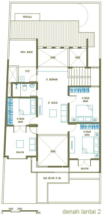 Denah Rumah Minimalis Mewah Lantai 2