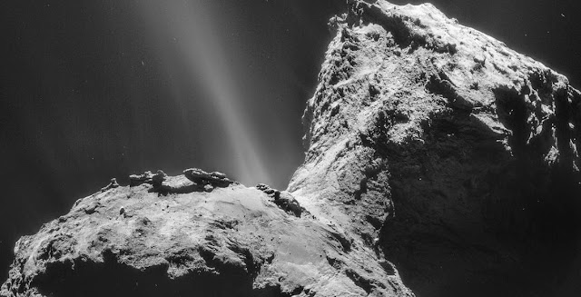 Comet 67P/Churyumov-Gerasimenko as seen by Rosetta spacecraft. Credit: ESA