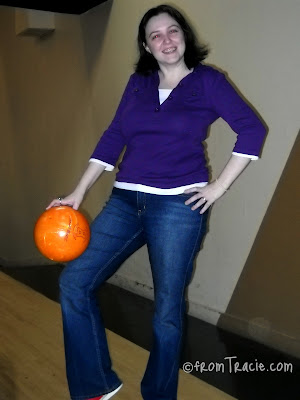 Tracie holding a bowling ball
