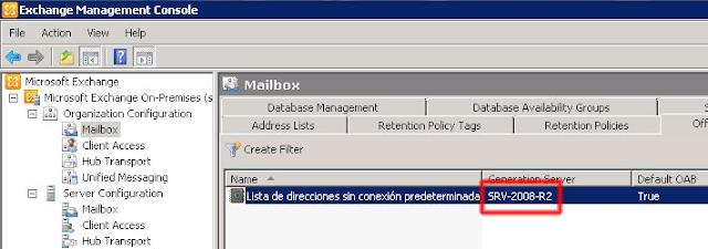 Libreta de direcciones sin conexión ubicada en el servidor Exchange 2010.