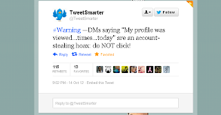 "Peringatan twitter, Jangan klik DM mengatakan ""Profil saya telah dilihat .. kali .. hari ini"""
