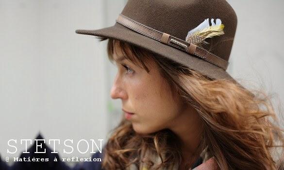Chapeau femme Stetson marron à plume