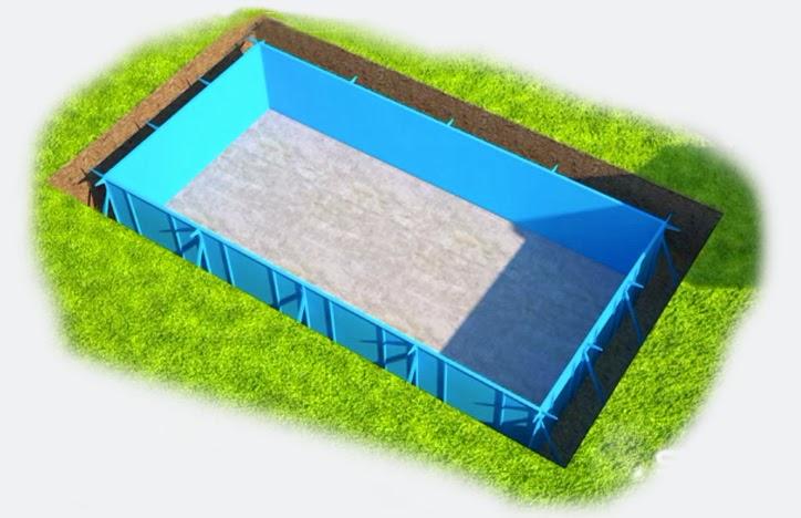 Piscinas de vinil com estrutura de a o projetos de for Piscina metalica