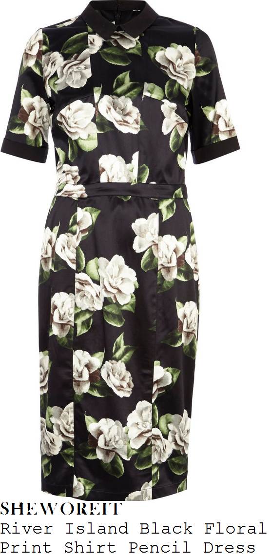 lydia-bright-black-cream-white-and-green-floral-print-short-sleeve-collared-satin-shirt-pencil-dress-this-morning