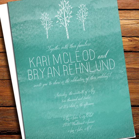 Tree Bird Painted Wedding Invitations