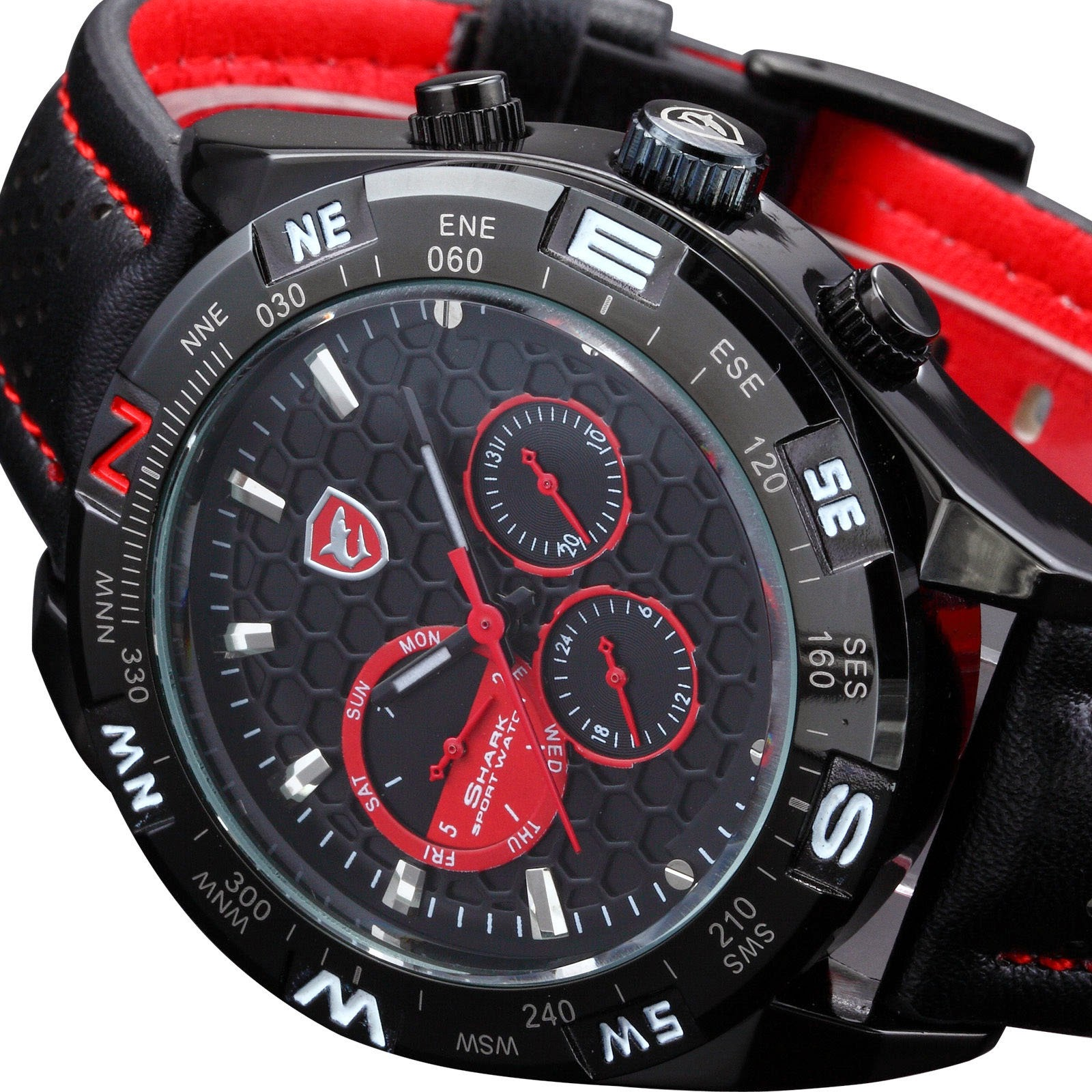 Shark Luxury Men Military Date Day Black Leather Sport Quartz Wrist Watch