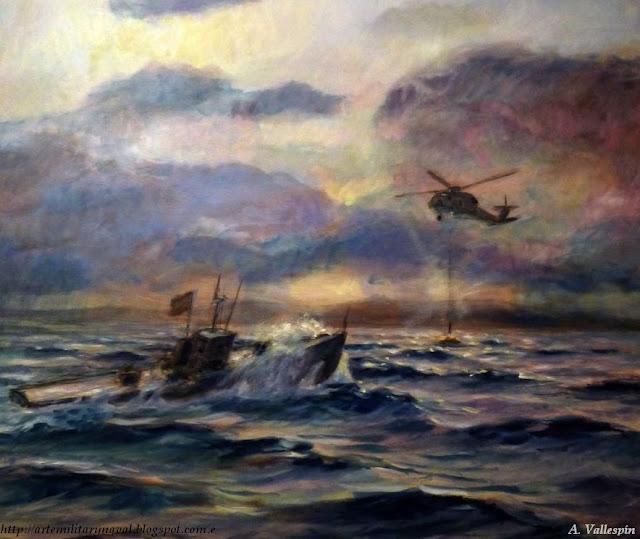 Pintura al óleo de un rescate de naufragos en el mar