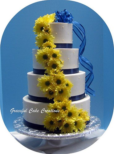 White Navy Blue and Yellow Wedding Cake To see daily pictures recipes