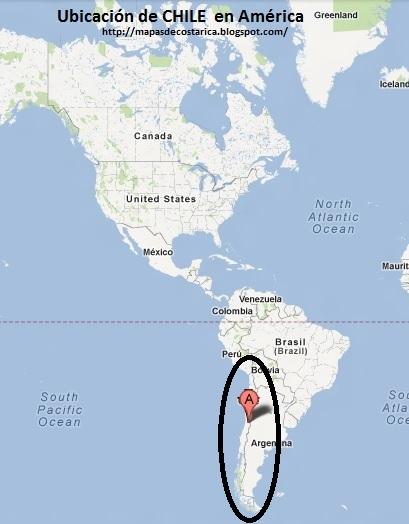 Ubicación de CHILE en América, Google Maps