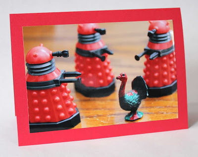 3 dalek holding guns on a turkey