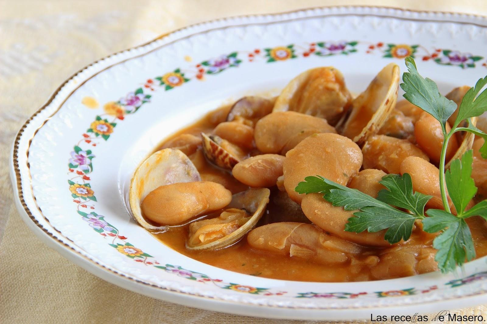Las recetas de masero judiones con almejas en olla a presi n for Como cocinar almejas
