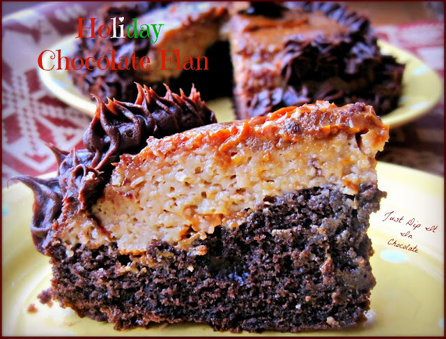 Holiday Chocolate Flan Recipe, if you love chocolate cake and homemade custard, this is the recipe for you! Easy to make with 2 of your favorite holiday desserts #holiday #chocolatecake #flan