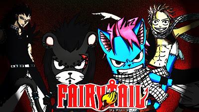 Natsu Dragneel, Happy, PantherLily, Gazille Redfox, natsu gajeel, gajeel fairy tail, happy fairy tail, panther lily, Wallpaper fairy tail, fairytail widescreen,