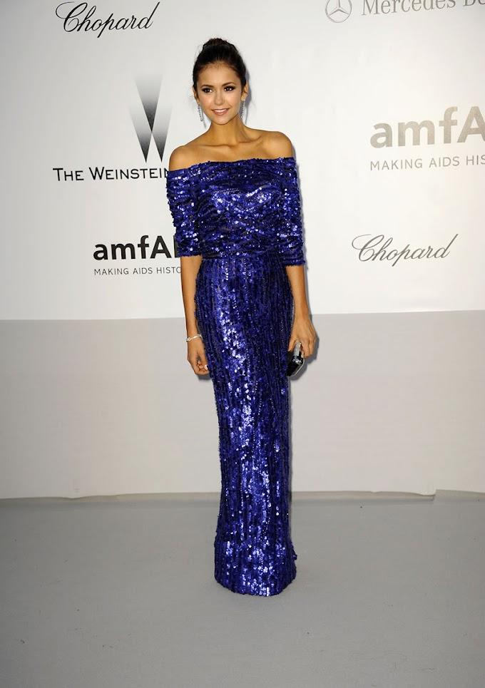 Payetli Mavi Elbise Modeli {Nina Dobrev }