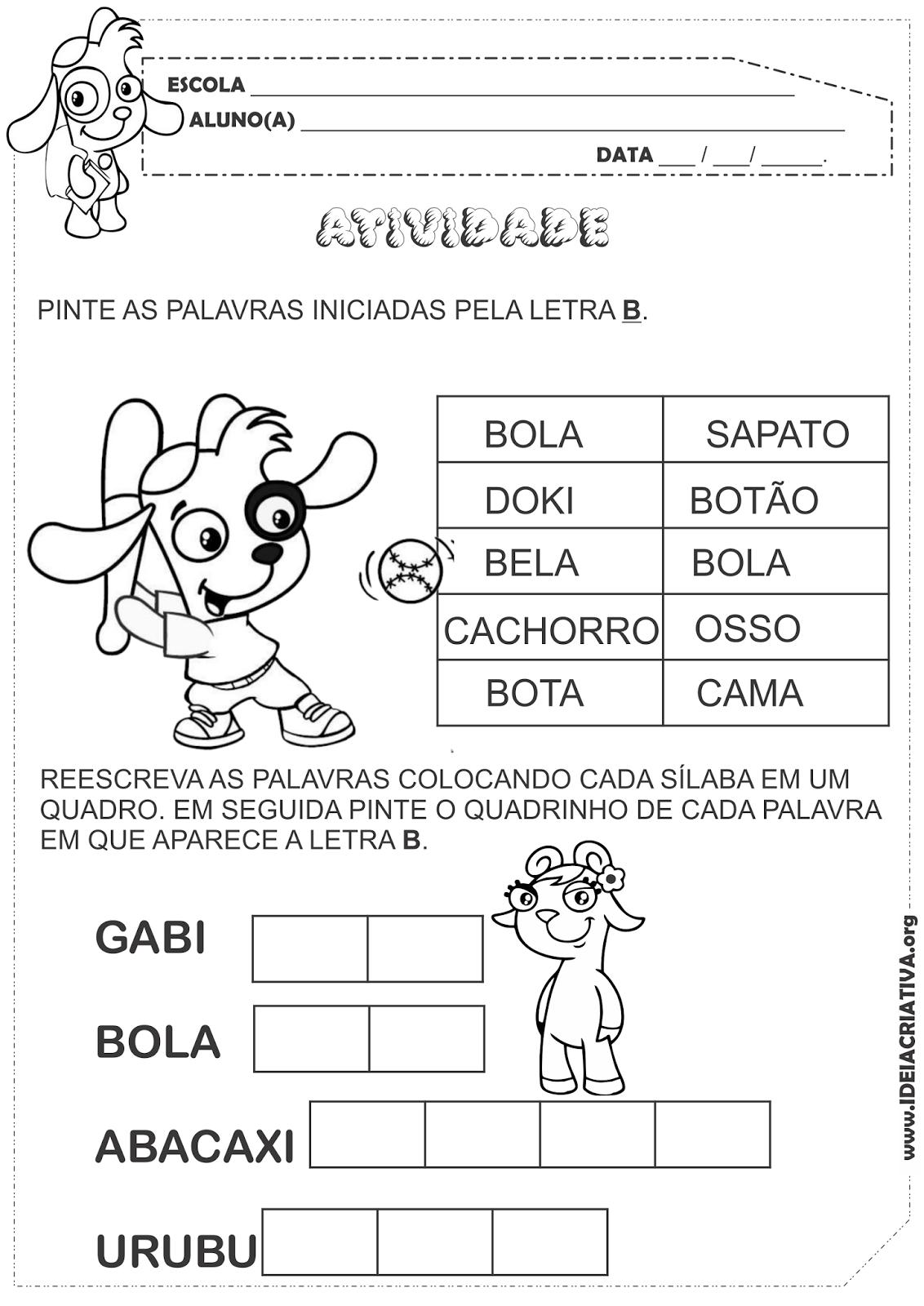 Atividade Turma do Doki Letra B Alfabetização