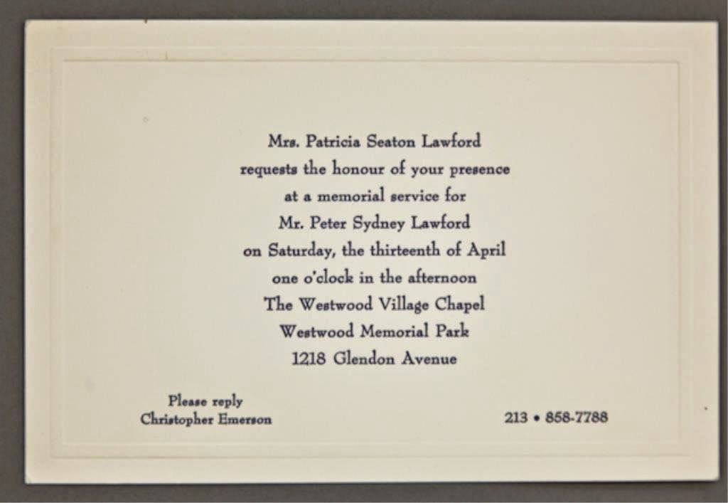 Dearly Departed Tours Hollywood Peter Lawford Memorial Invitation