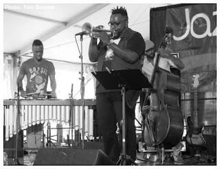 Justin Thomas - Marquis Hill - Junious Paul - Makaya McCraven Quartet - 2015 Chicago Jazz Festival | Photograph by Tom Bowser