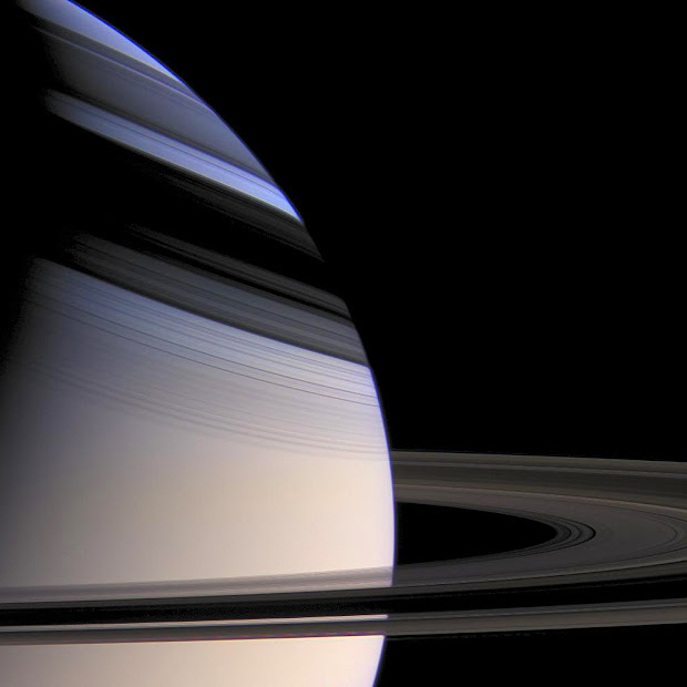 Striking view of Saturn embraced by the shadows of its Rings