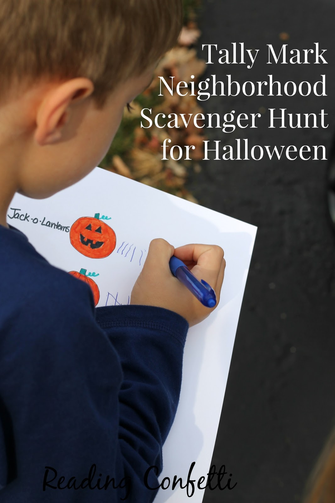 Make a simple tally mark scavenger hunt for your neighborhood this Halloween.