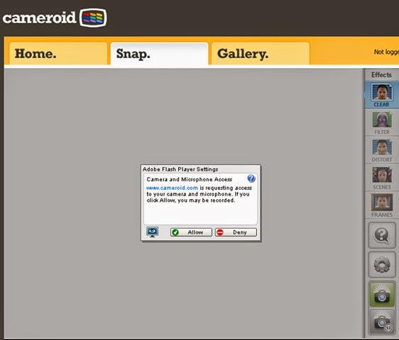 Tire fotos online com a webcam no site Cameroid